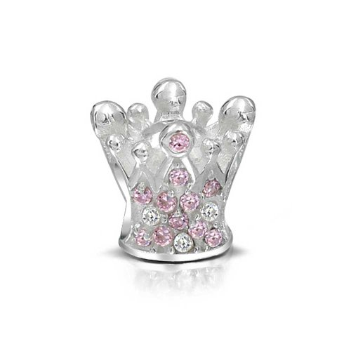 Bling Jewelry Sterling Rosa Topaz di colore Crystal Crown Charm Bead
