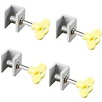 4 Pcs Adjustable Sliding Window Locks Door Frame Security Locks With Key
