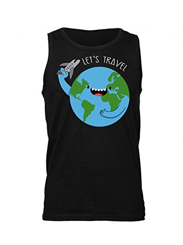 Let's Travel Around The World Men's Tank Top Shirt Extra Large (Green Star Tickets)