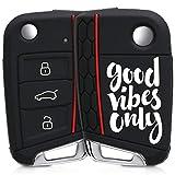 kwmobile Funda para Llave de 3 Botones para Coche VW Golf 7 MK7 - Carcasa Protectora [Suave] de [Silicona] - Case de Mando de Auto con diseño Good Vibes Only