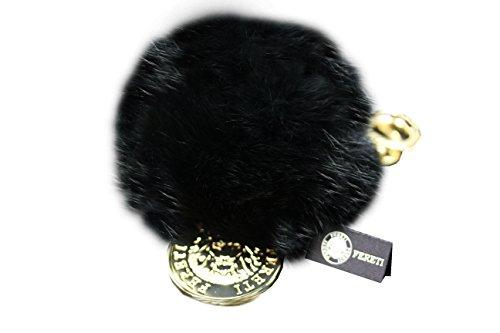 FERETI Schwarz Pompon Anhänger Schlüsselanhänger Kaninchen (14k Handtasche)
