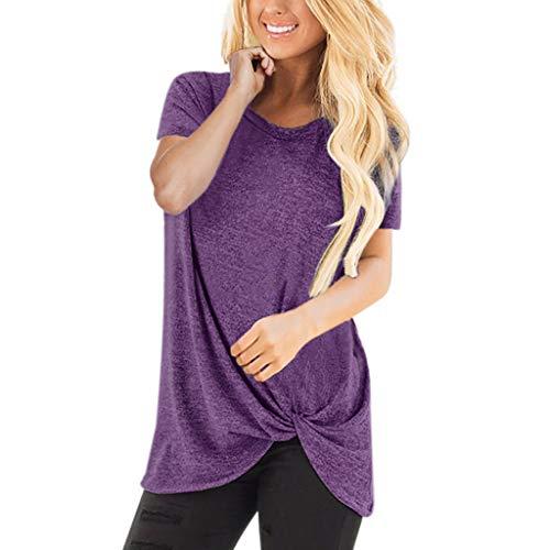 ESAILQ Frau LäSsige Solid Color Kurzarm O Neck Bluse Twist Verknotet Tops T-Shirt(Small,Lila)