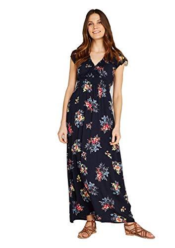 -Kleid mit Blumen-Print,Langes Kleid mit V-Ausschnitt, Maxidress, Maxikleid mit elastischem Bund in Dunkelblau (XS, Navy) ()