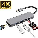 Adattatore USB C, Ibosi Cheng 5in 1USB C Hub Thunderbolt 3porte USB 3.0Hub, Multiport adattatore USB C a HDMI con lettore di schede SD e TF per MacBook Pro 2017/2016, Chromebook Pixel e più