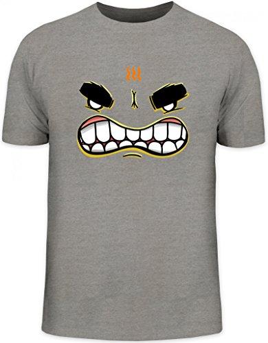 Lustiges Cartoon Emoji Herren T-Shirt mit Funny Faces - Mad Motiv Graumeliert