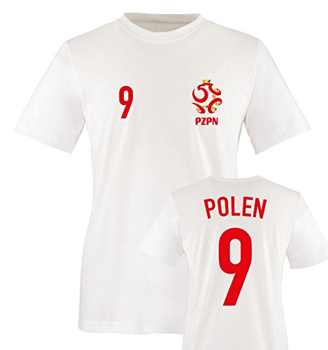 EM 2016 - Trikot - EM 2016 - Polen - 9 - Herren T-Shirt - Weiss/Rot-Gold Gr. XL