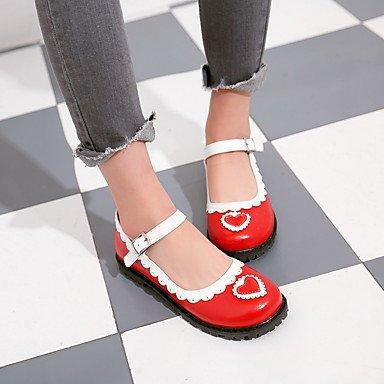 Confortevole ed elegante piatto scarpe donna Appartamenti Primavera Estate Autunno altri Casual in similpelle tacco piatto fibbia cucitura nero in pizzo rosa rosso Red