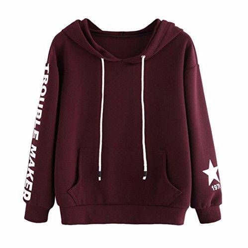 Damen Hoodie Kapuzenpullover,Sannysis Frauen Pullover mit Kapuze Tops Bluse (L, Rotwein-2)