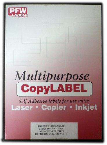 Pfw-ULL12-A4con etichette stampabili, 100x A4fogli, 24etichette per foglio, 64x 72mm, autoadesive etichette per indirizzi con angoli arrotondati-bianco-compatibile con Avery L7164