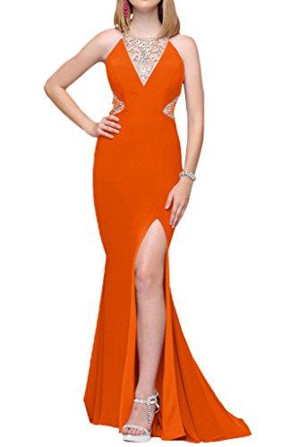 Milano Bride Glaenzend Halsholder Steine Lang Chiffon Abendkleider Ballkleider Partykleider Bodenlang Orange
