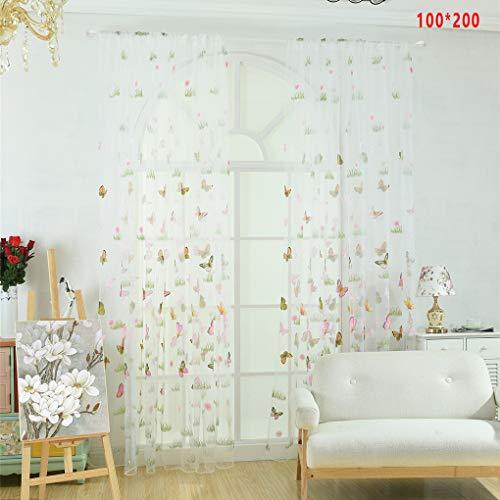 Cdrox Grünes Gras-Schmetterlings-Blumen-Tulle Vorhang Rod-Taschen Durchlässiger Jalousien Wohnzimmer Hotelfenster drapiert - Rod Vorhang Grüne