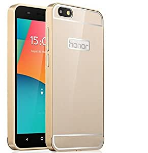 Huawei Honor 4X case, Koko Aluminum Metal Bumper Frame Case with Acrylic Back Cover for Huawei Honor 4X - GOLDEN by MOBILEKART_SHOP