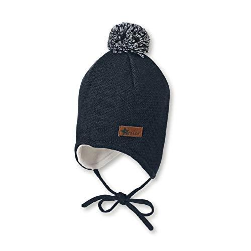 Sterntaler Mütze für Jungen mit Bommel und Ohrenklappen, Gefüttert, Alter: 9-12 Monate, Größe: 47, Blau (Marine)