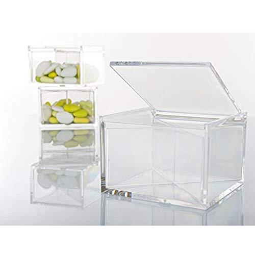 Aurora store.it 24 scatoline portaconfetti 8x8x4cm quadrati per matrimonio comunione scatole per confetti bomboniere segnaposto in plexiglass trasparenti da decorare decoupage