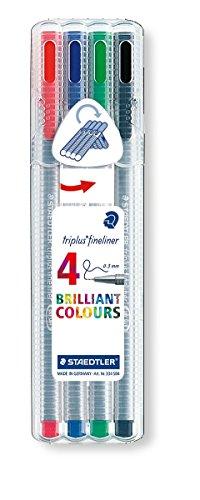 Staedtler 334 SB4 Triplus Fineliner 4 Stück farbig sortiert