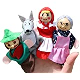 Kuhu Creations® Supreme 4 Pcs Red Riding Hood Story Wooden Finger Puppets Baby Story Telling Toys.