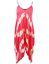 86aca194ae391 Raviya Women's Coral Plus Size Tie-Dye Handkerchief-Hem Cover-Up Dress (