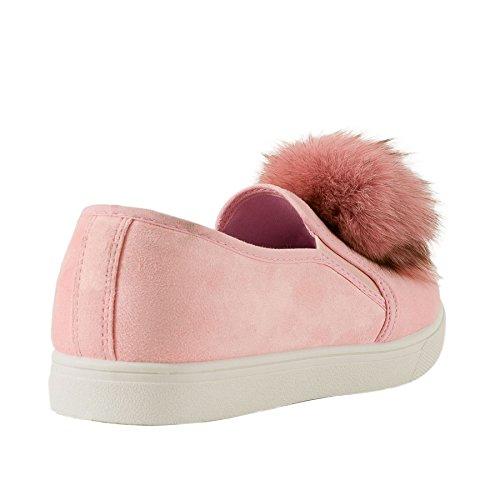 Faux Wildleder Damen Flauschig Pom Pom Flache Slipper Turnschuhe Turnschuhe Pumps Schuhe Größe Rose