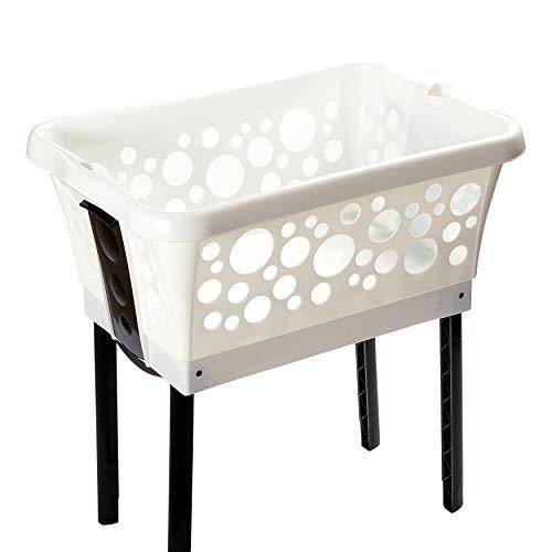 Wäschekorb mit ausklappbaren Beinen weiß – Made in Germany – Wäschekorb Kunststoff mit großem Volumen – Wäschewanne auf Beinen für rückenschonendes Aufhängen der Wäsche ohne Bücken