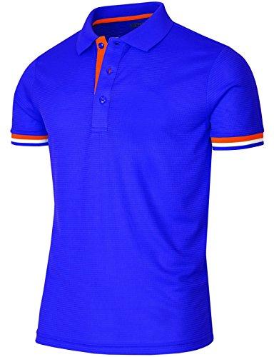 BCPOLO Funktionsbekleidung Poloshirt Men fashion Golfwear-blue XXL (Langarm-uniformhemd Blau)