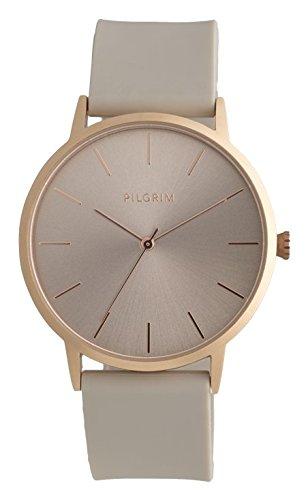 Pilgrim Damen Armbanduhr, Analog, Quartz, roségold + braun Silikon Aurelia 701734530