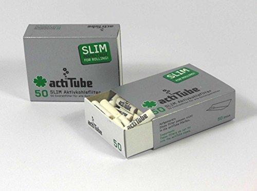 actiTube Slim - Filtros de carbón Activado (7,1mm, 2 Paquetes de 50 Unidades) Filtros de carbón...