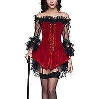 Burvogue - Corsetto da donna in stile gotico, bustino in pizzo con gonna