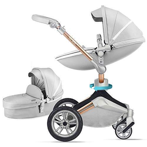 Kombikinderwagen 2 in 1 mit Buggy und Babywanne 2020 neues Design Drehung Kinderwagen - Hell Grau