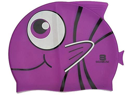 BigHouse Schwimmkappe - Badekappe Silikon in Form Eines Fisches - Einheitsgröße (LILA)