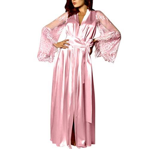 TEBAISE Damen Satin Kimono Morgenmantel Lang Bademantel Frauen Schlafanzug Negligee Nachthemd Nachtwäsche Unterwäsche V Ausschnitt mit Gürte Muttertags Mama Geschenk -