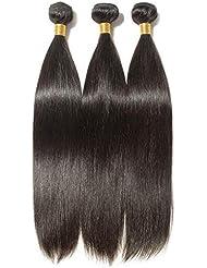 """Tissage Bresilien en Lot Lisse 3 Bundles Meches Bresiliennes Extension Cheveux Naturel Noir Naturel - Grade 7A Brazilian 100% Human Hair Straight - 22""""22""""22"""""""