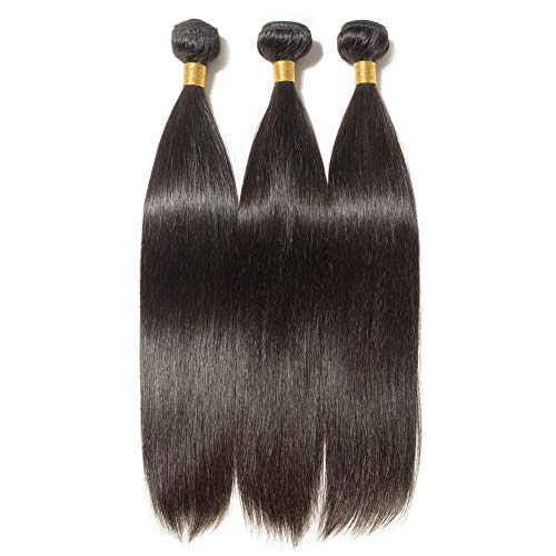 Tissage Bresilien Lisse Meches Bresiliennes Extension Cheveux Naturel Noir Naturel - Grade 7A Brazilian 100% Human Hair Straight - 14\