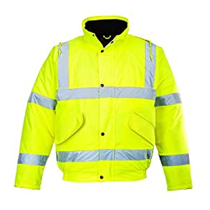 PORTWEST S463YERS Hi-Vis 688 Bomber Jacket, Yellow, Small