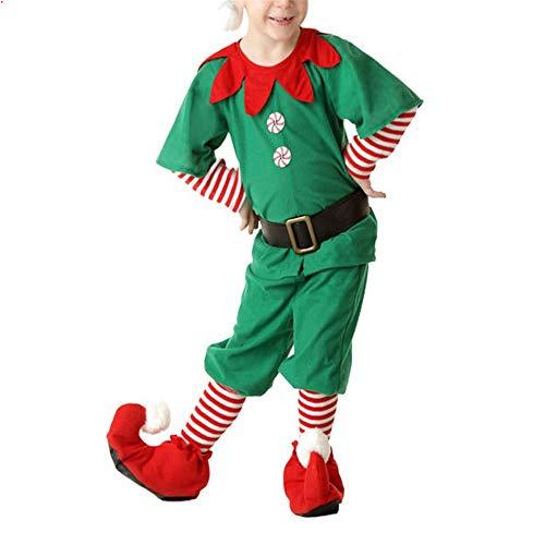 ZHRUI Weihnachtself Cosplay Custome Set Familie Jungen Mädchen Hüte Gürtel Socken Kleidung Set (Farbe : Grün, Größe : 130 cm)