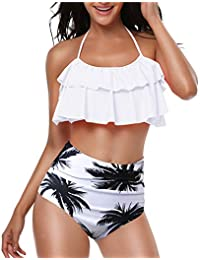 a39ca736ef TEERFU Womens Swimwear High Waisted Padded Halter Beach Bathing Suits Bikini  Set