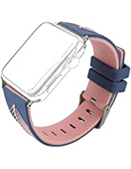 Bands for Apple Watch Series 3 38mm, MeiC Power Sports & Outdoor Silicone Rubber Smart Watch Wrist Bands Feather Texture Breathable Bracelet Replacement Accessories Straps for Apple iWatch Series 1 / 2 / 3, Sport, Edition - Blue/Pink