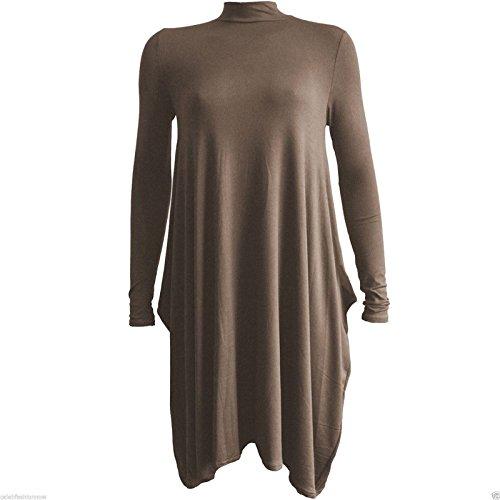 Janisramone Nouveau femme robe col roulé simple Robe évasée longue manches Moka
