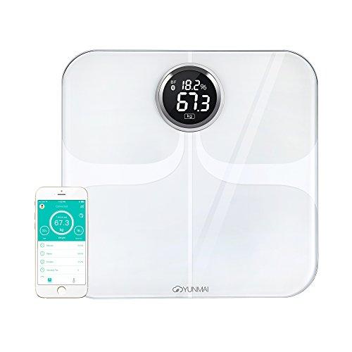 YUNMAI, bilancia intelligente con Bluetooth per l\'analisi della composizione corporea, con 10 diverse tipologie di analisi della composizione corporea (inclusa massa grassa), White