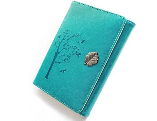 Valery Journal intime vintage, cahier rechargeable, carnet de notes & voyage ligné format A6, bloc-notes avec 100 feuilles et 200 pages, papier sans acide - Turquoise (Bleu Aqua)