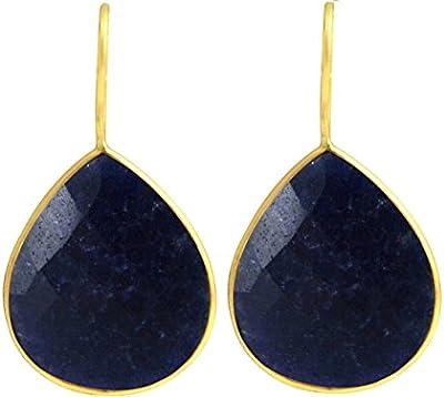 Gemshine - Pendientes- Zafiro - Azul - Plata de ley chapada en oro