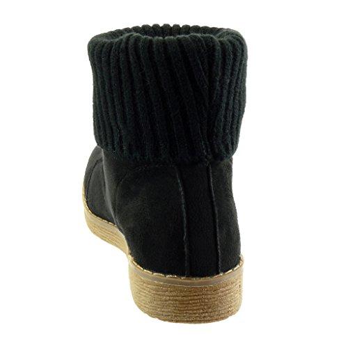 Angkorly - Scarpe da Moda Stivaletti - Scarponcini donna crochet finitura cuciture impunture Tacco a blocco tacco alto 2.5 CM - soletta Foderato di Pelliccia Nero