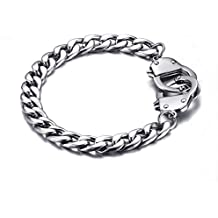 HOUSWEETY Bracelet Chaine Maille Figaro avec Fermoir Menottes en Acier Inoxydable pour Homme