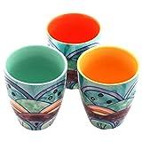 Gall&Zick Tasse Set/3 Teetasse Becher Kaffeebecher Kaffeetasse Teetasse Geschirr Keramik Bemalt Bunt