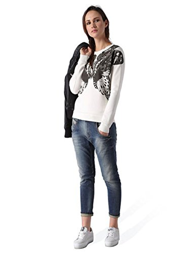 Diesel F-RADI-Z Felpa Maglietta da donna Sweatshirt Shirt Bianco