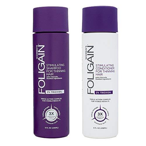 FOLIGAIN Pack Shampoing et Après Shampoing ANTI CHUTE DE CHEVEUX pour Femme | Contient 2% TRIOXIDIL | Cheveux fins et fragiles - Renforce et Densifie les cheveux | Stimule la REPOUSSE - Sans sulfate
