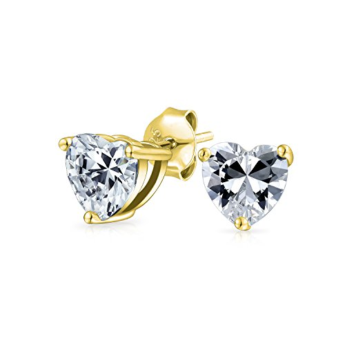 Bling Jewelry Classic CZ Heart Stud earrings Gold Plated 8mm