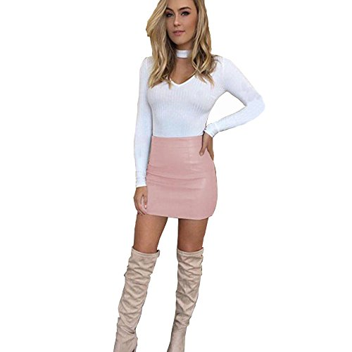 Schlank Frauen Kleid, Sunday Damen Solid Bandge Leder Hohe Taille Bleistift Bodycon Hip Short Mini Rock (Rosa, S) (Leder-bleistift-rock Die)