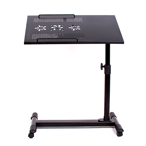 Tische ZHANGRONG- Home Bed Rotation Table Neigungseinstellung Mobile Computer Schreibtisch Studenten Wohnheim Metall Laptop Continental (Farbe : Schwarz)