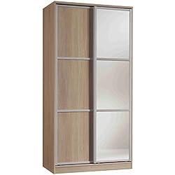 Armario ropero con espejos color cambrian de 2 puertas correderas, estantes regulables, molduras decorativas para dormitorio. 200cm alto x 100cm ancho x 62cm fondo
