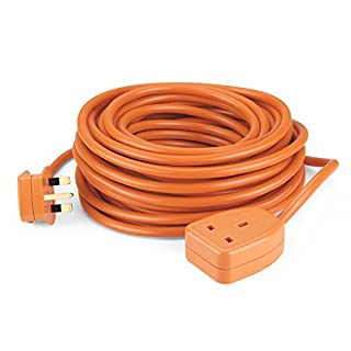 SIMBR 15M Extension Lead Cable Heavy Duty Cord Wire with 1-Gang 13A Plug Socket H05VV-F 3 * 1.5 Orange